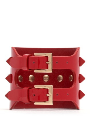 Back View - Click To Enlarge - Valentino - 'Rockstud' wide patent leather bracelet