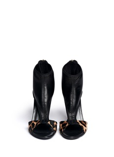 DIANE VON FURSTENBERG'Uffie' leopard print calf hair sandal boots