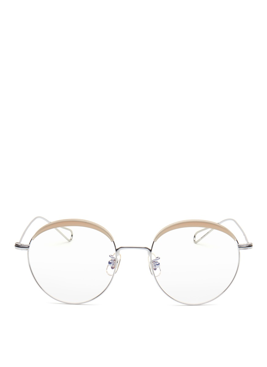 Milli 04 acetate browline metal wire optical glasses by Stephane + Christian