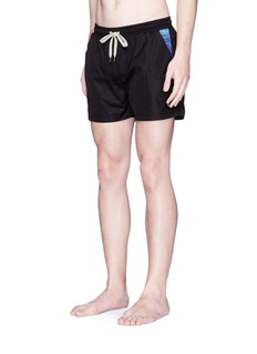 Insted We Smile Ripple print panel swim shorts