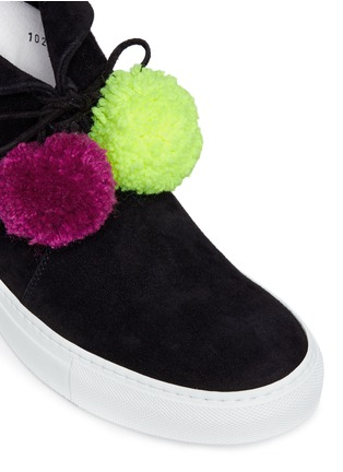 Detail View - Click To Enlarge - Joshua Sanders - Pompom lace-up suede sneaker boots
