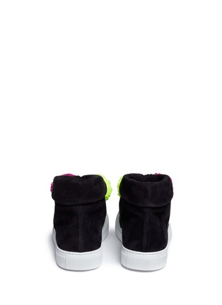 Back View - Click To Enlarge - Joshua Sanders - Pompom lace-up suede sneaker boots