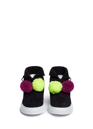 Front View - Click To Enlarge - Joshua Sanders - Pompom lace-up suede sneaker boots