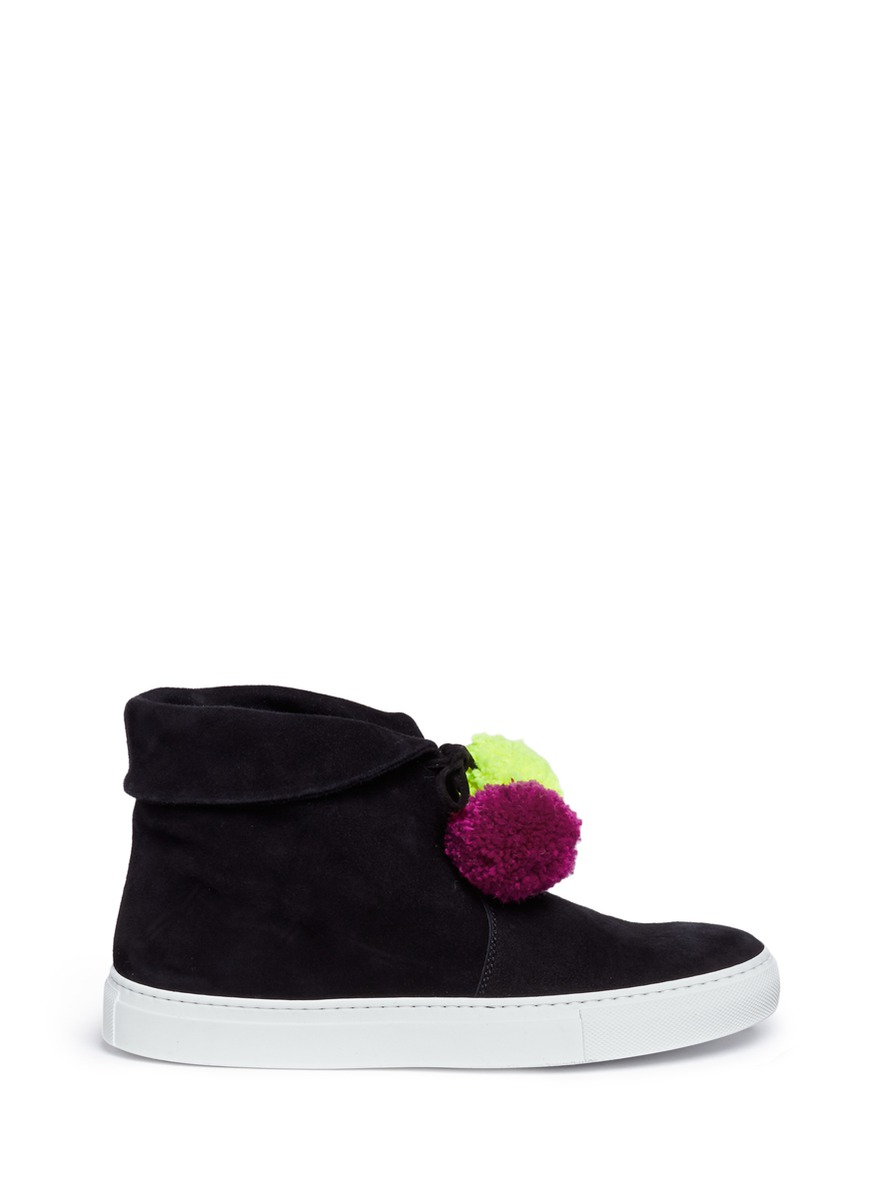 Pompom lace-up suede sneaker boots by Joshua Sanders