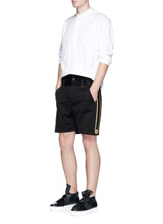 Ports 1961 Metallic embroidered outseam twill shorts