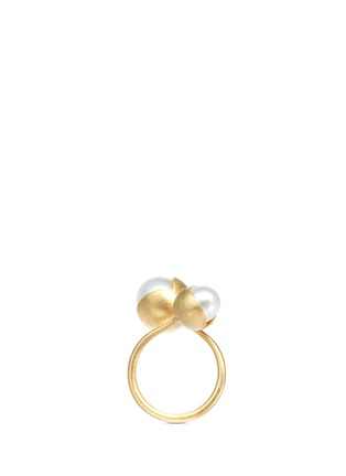 Main View - Click To Enlarge - Belinda Chang - 'Fruity' 18k yellow gold plated double pearl ring