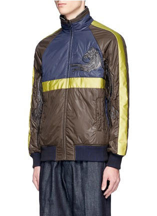 Front View - Click To Enlarge - Saam1 - 3M reflective Mongolian horse embroidered reversible padded jacket