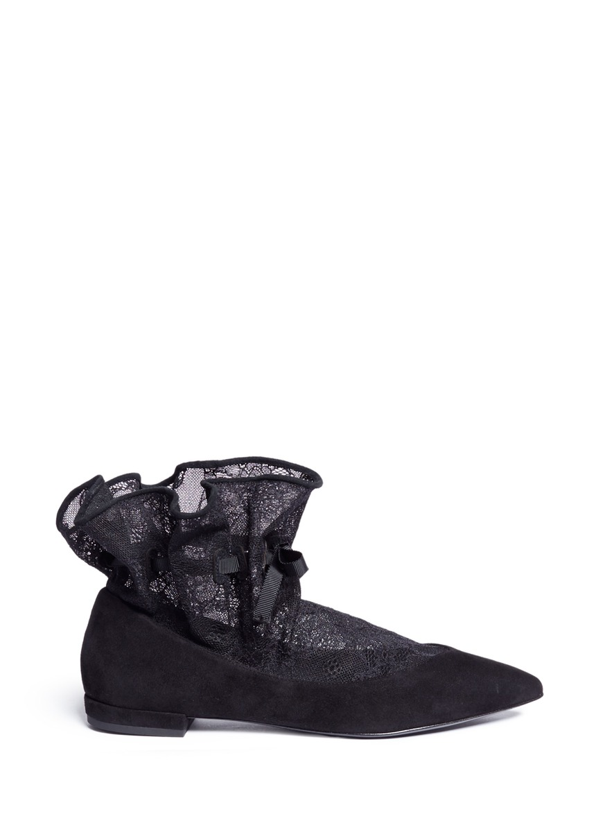 Cinched lace sock suede flats by Stella Luna