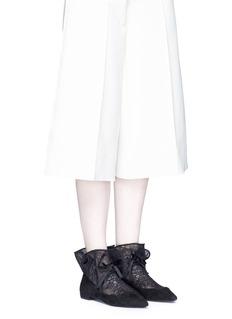 Stella LunaCinched lace sock suede flats