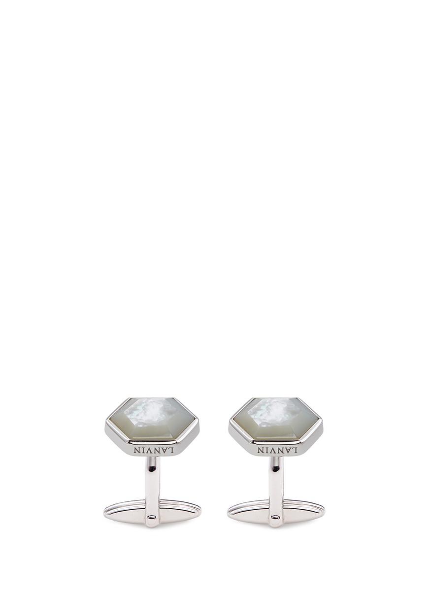 lanvin male hexagon cufflinks