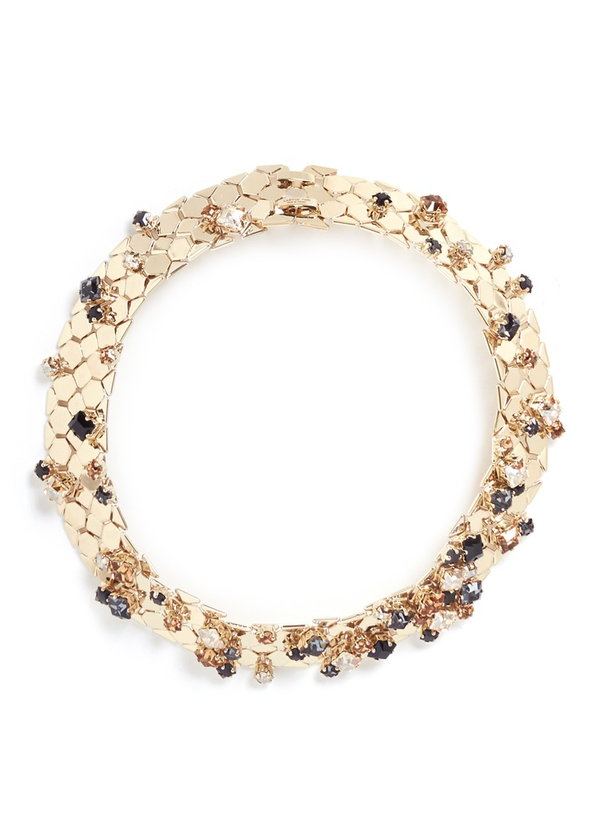 Chain Lumiere glass crystal honeycomb chain necklace by Lanvin