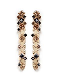 LANVIN菱形仿水晶黄铜吊坠耳环