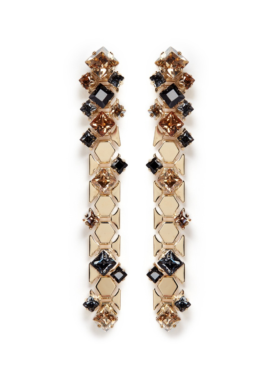 Chain Lumiere crystal honeycomb chain drop earrings by Lanvin