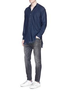 NSF'Kobe' pleated placket chambray shirt