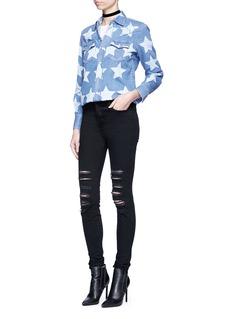 Saint LaurentBleached star print denim shirt