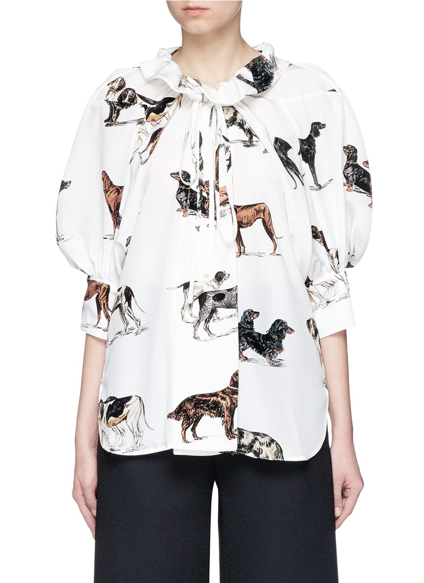Tie neck puffed sleeve dog print silk shirt by Stella McCartney