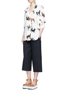 Stella McCartneyTie neck puffed sleeve dog print silk shirt