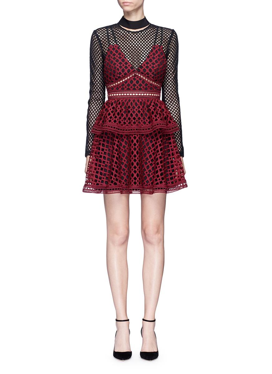 Caro geometric lace overlay diamond mesh dress by self-portrait