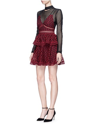 Figure View - Click To Enlarge - self-portrait - 'Caro' geometric lace overlay diamond mesh dress