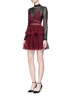 self-portrait'Caro' geometric lace overlay diamond mesh dress