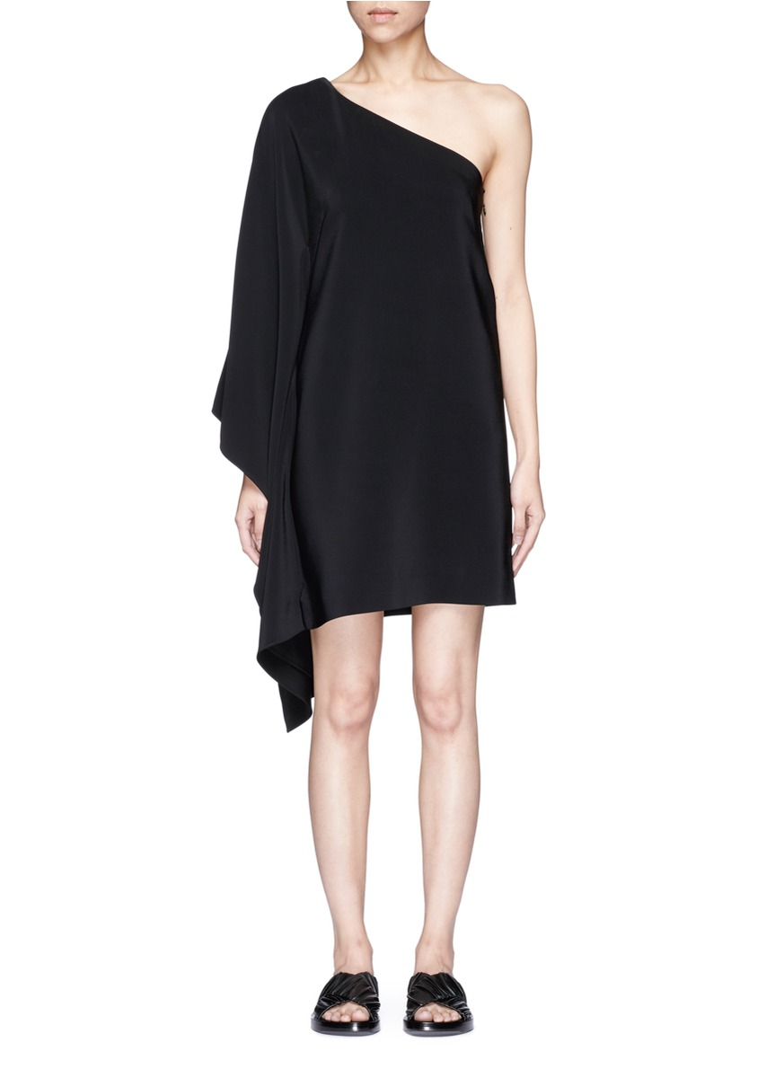 One-shoulder cape sleeve dress by Rosetta Getty