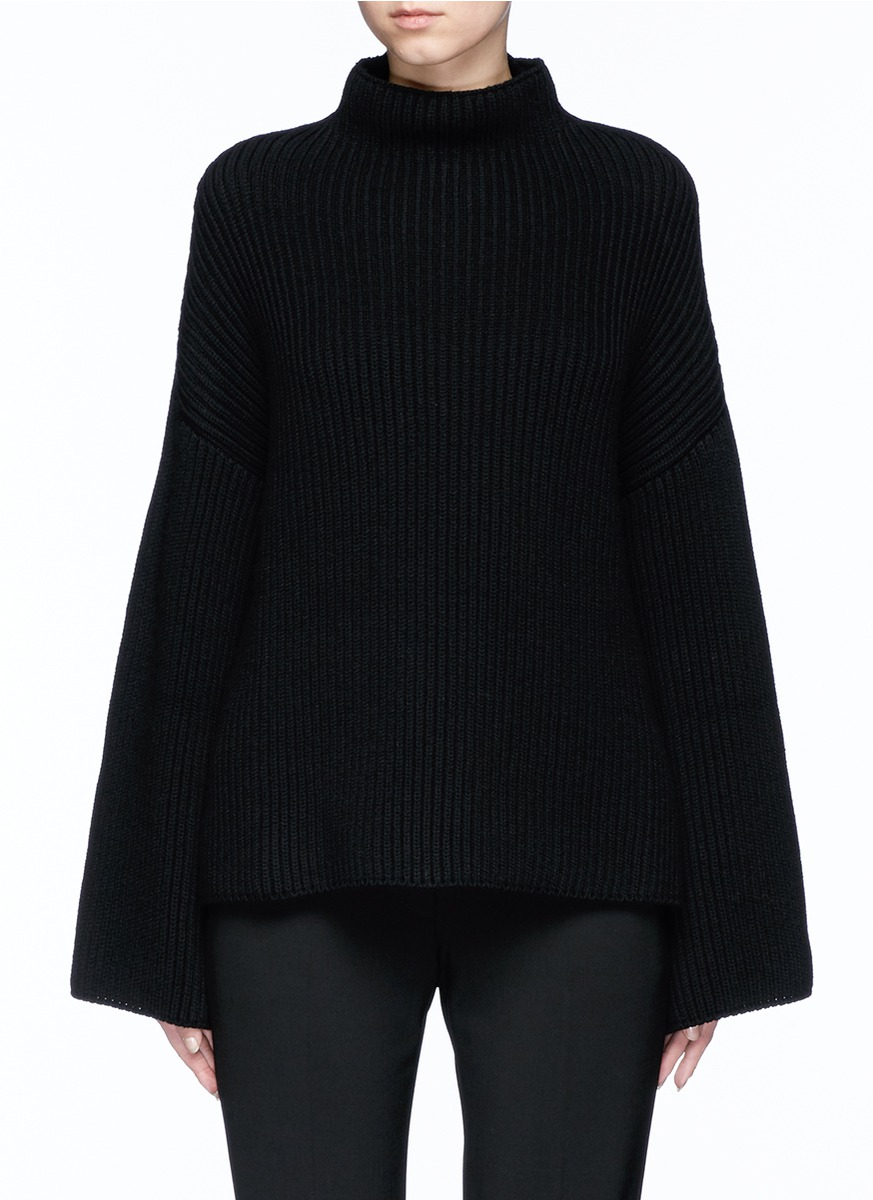 Cropped back wool-cashmere rib knit sweater by Rosetta Getty