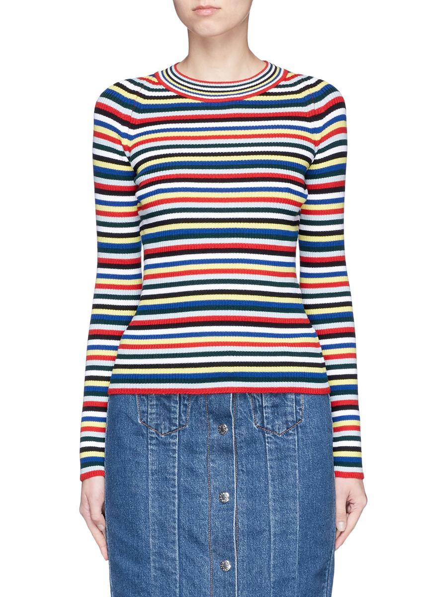 Stripe Merino wool rib knit sweater by Rosetta Getty