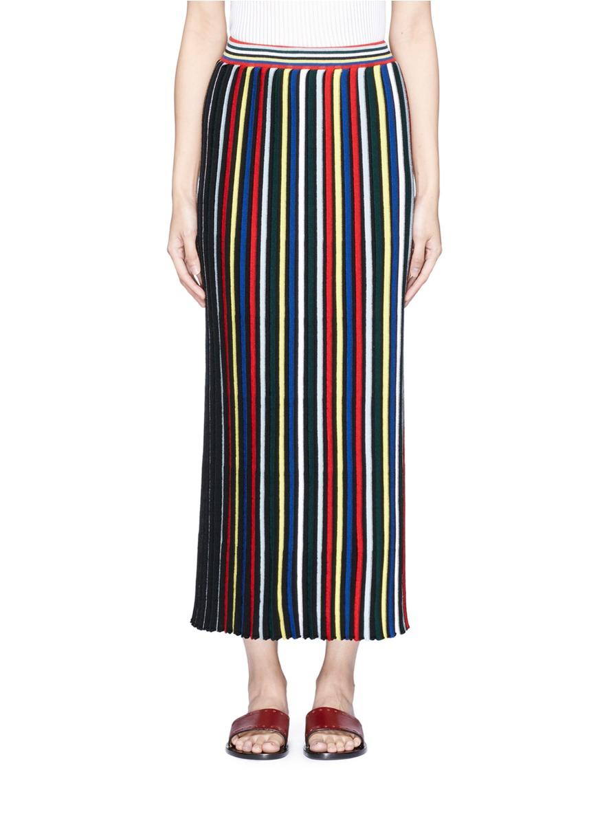 Stripe rib knit Merino wool maxi skirt by Rosetta Getty