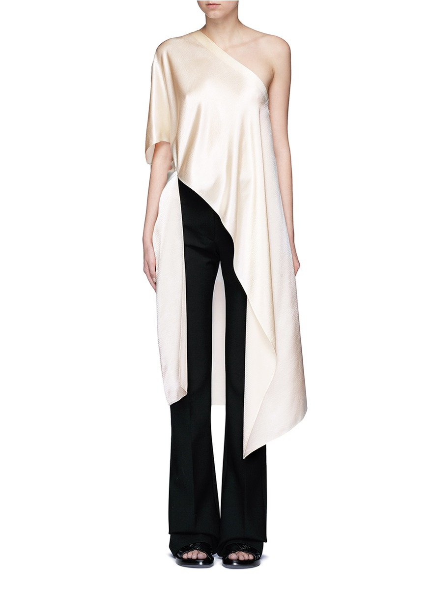 Asymmetric hem one-shoulder kaftan top by Rosetta Getty