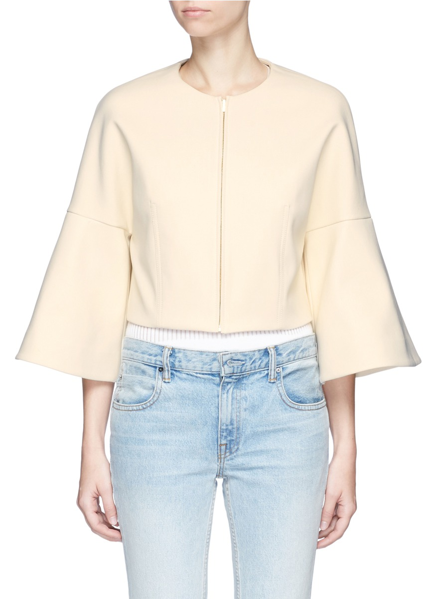 Bell sleeve cropped suiting jacket by Rosetta Getty