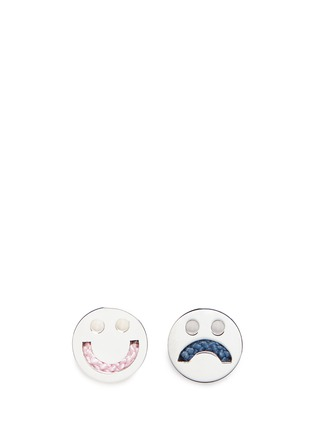 Main View - Click To Enlarge - Ruifier - 'Happy Sad' sterling silver cord stud asymmetric earrings