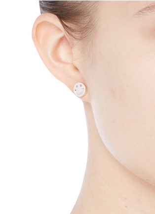 Figure View - Click To Enlarge - Ruifier - 'Happy Sad' sterling silver cord stud asymmetric earrings