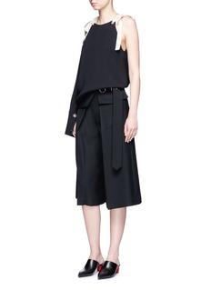 MonseTie shoulder asymmetric sleeve silk top