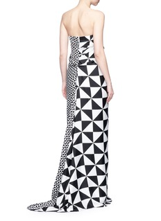 Monse Contrast geometric print strapless silk gown