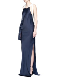 Monse Tie shoulder asymmetric sleeve gown