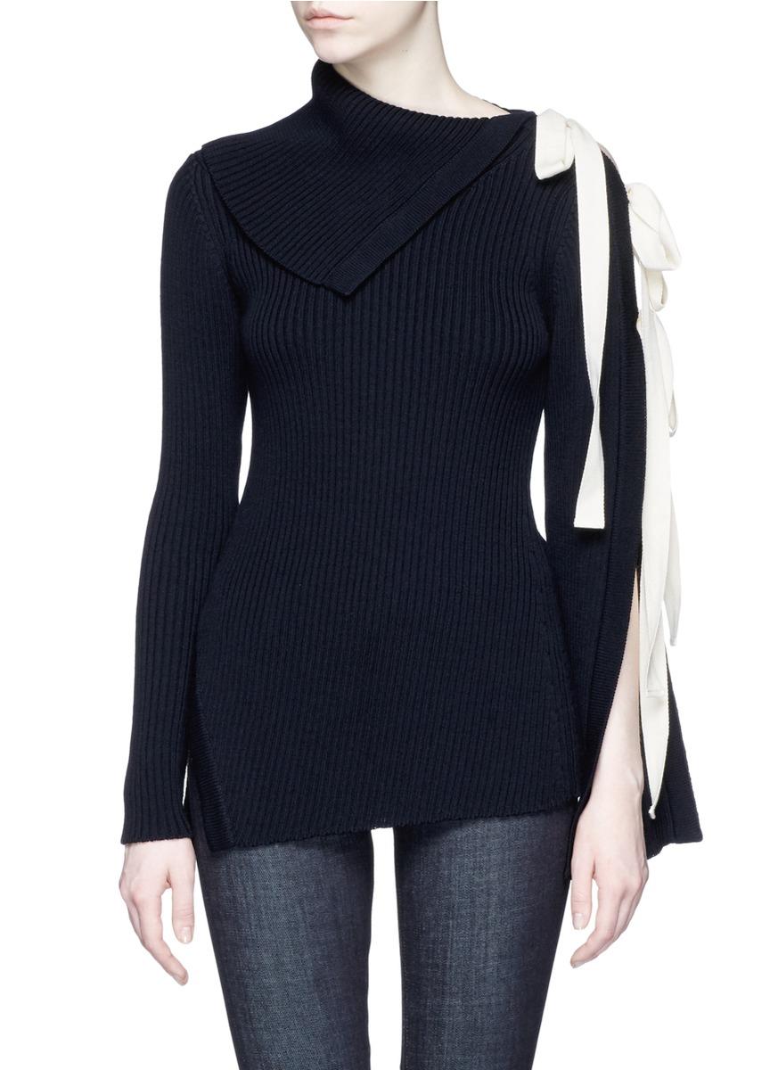 Tie open sleeve wool blend sweater by Monse