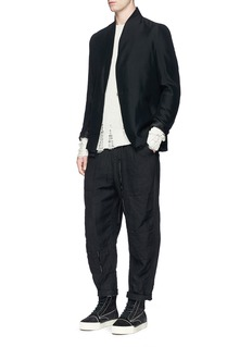 Song for the Mute Raised collar raw hem jacket