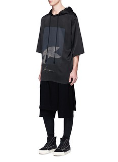 Song for the Mute'Beau' print raw edge hoodie