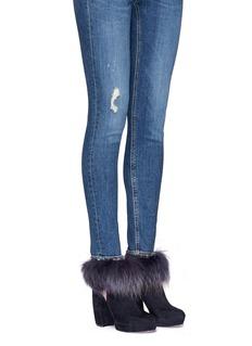 Aperlai'Amanda' rabbit fur trim suede ankle boots