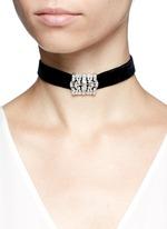 Glass crystal pavé velvet choker necklace