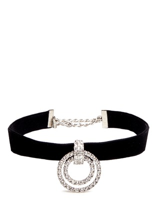 Kenneth Jay Lane - Circle crystal pavé velvet choker necklace