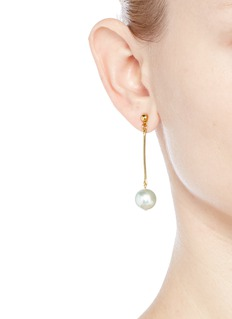 Kenneth Jay Lane Long post pearl drop earrings