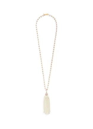 Kenneth Jay Lane - Glass pearl tassel crystal pavé necklace
