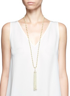 Kenneth Jay Lane Glass pearl tassel crystal pavé necklace