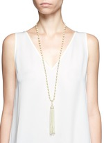 Glass pearl tassel crystal pavé necklace