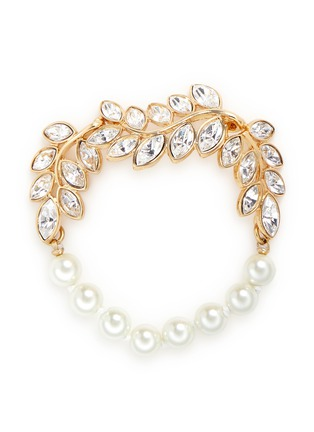 Main View - Click To Enlarge - Kenneth Jay Lane - Glass pearl crystal leaf bracelet