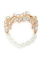 Glass pearl crystal leaf bracelet