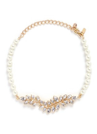 Kenneth Jay Lane - Glass crystal leaf pearl choker necklace