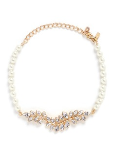 Kenneth Jay Lane Glass crystal leaf pearl choker necklace