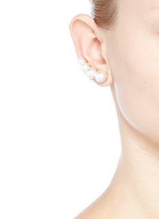 Kenneth Jay LaneGlass pearl climber earrings